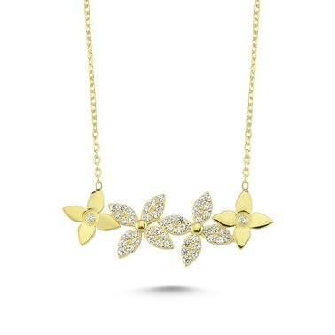 Online Takı Gümüş Çiçek Kolye Renkli